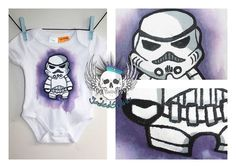 Stormtrooper Baby Onesie. Size 000 (To fit 0 - 3months) SOLD Baby Onesie, Traditional Art, Art Forms, Body Art, Digital Art, Fit, Painting, Clothes, Baby Overalls
