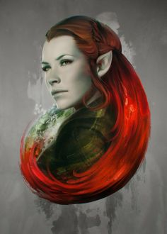 Cool Art: 'Head of Elven' Tauriel From 'The Hobbit: The Desolation Of Smaug' Print by Stanley Lau