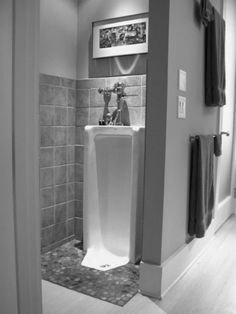 I dont understand why this isnt a common solution to the toilet seat issue. Plus, they think theyre manly and special when they have their own bathroom. Throw the bone. http://blog.styleestate.com/style-estate-blog/modern-home-urinals.html