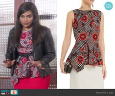 Mindy's floral and houndstooth print peplum top on The Mindy Project.  Outfit Details: http://wornontv.net/51717/