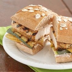 Grilled Chicken Sandwiches ~~~ From Diabetic Living    Spread whole wheat buns with lime dressing and then top with grilled chicken and zucchini to make these main-dish sandwiches.