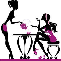 Chicas tomando café 4, imagen vectorial.
