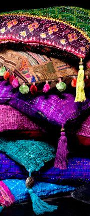 Boho embroidered colorful pillows with tassels