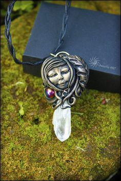 FREE SHIPPING Quartz pendant, spirit jewelry, quartz crystal, healing pendant, natural pendant,Raw Quartz Crystal