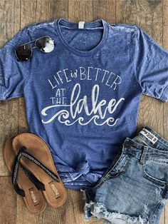 Life is Better at the Lake! The crew neck tee is printed on a royal blue crew neck Bella+Canvas tee. Good Life Shirts, Cute Shirts, Bling Shirts, Teacher Outfits, Teacher Clothes, Blue Crew, Lake Life, Shirts With Sayings, Cool Outfits