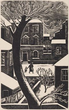London Snow Artwork by Iain Macnab Wood Engraving on Paper 1955