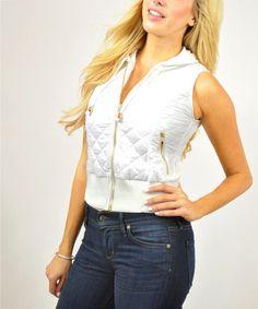 Look at this #zulilyfind! White Quilted Zip-Up Hooded Vest #zulilyfinds