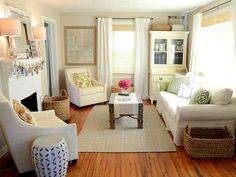 Iron & Twine Living Room After Makeover. Wall color: Benjamin Moore - Hush.   Complete loveliness!! #Smalllivingrooms
