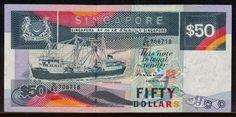 "Singapore banknotes 50 Dollars banknote Ship Series - Coaster vessel ""Perak"" Singapore Dollar, Golden Number, Saving For Retirement, World Coins, Personal Photo, Finance, Ship, Coaster, Thailand"