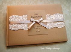 Country Lace Wedding Guest Book  www.quillsweddingstationery.co.uk QuillsWeddingFavours on Etsy www.quillsweddingstationery.co.uk https://www.facebook.com/pages/Quills-Wedding-
