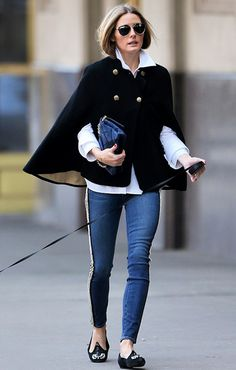 Classic and Trending Style: Olivia Palermo in Betsy Johnson black cape coat + white shirt + denim pants NY street style April 2014.