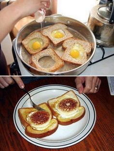 eggs and toast What's For Breakfast, Breakfast Recipes, Dessert Recipes, Desserts, Comida Diy, Huevos Fritos, Good Food, Yummy Food, Different Recipes