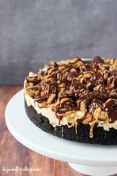 Ultimate No-bake Reese's Peanut Butter Cup Cheesecake   beyondfrosting.com   #peanutbutter #cheesecake