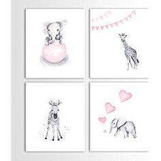 Giraffe Nursery Art, Baby Elephant, Pink Nursery, Safari Animals, Zebra - Set of Four Art Prints