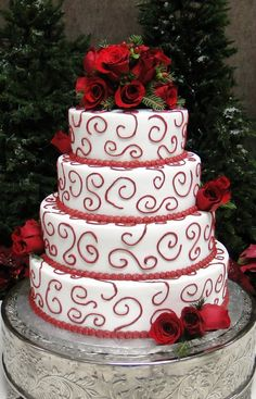 Red Swirl Rose Christmas Wedding Cake- 4 Tiers change the red around each layer to green at the base