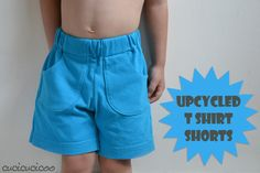 Tutorial: sew kid shorts from an upcycled t-shirt, reusing the original hems to save time and energy! T Shirt And Shorts, Kids Shorts, Boys Pants, Boy Shorts, Sewing Kids Clothes, Sewing For Kids, Baby Sewing, Upcycling T Shirts, Boys Sewing Patterns