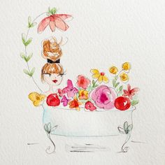 Hope you get in a little time to relax Illustration Girl, Watercolor Illustration, Watercolor Paintings, Watercolors, Bel Art, Art Fantaisiste, Girl Sketch, Inspiration Art, Pretty Art