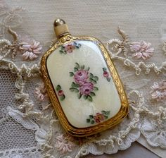 Antique French Perfume Bottle Guilloche Enamel Victorian Pink Roses
