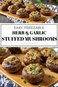 Creamy Herb and Garlic Stuffed Mushrooms only take minutes to prep and make a tasty party food or appetizer! Vegetarian, vegan and/or gluten free. Mushroom Appetizers, Healthy Appetizers, Appetizers For Party, Christmas Appetizers, Vegan Stuffed Mushrooms, Baked Mushrooms, Stuffed Mushroom Recipes, Vegetarian Recipes, Cooking Recipes
