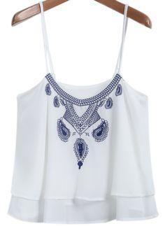 White Spaghetti Strap Embroidered Chiffon Vest -SheIn