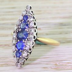 Early Victorian Sapphire & Rose Cut Diamond Navette Ring, circa 1840 by GatsbyJewels on Etsy