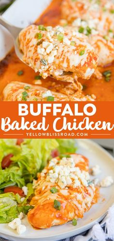 Baked Buffalo Chicken Baked Buffalo Chicken,Recipes from Yellow Bliss Road Baked Buffalo Chicken Breasts are tender and juicy, smothered in spicy buffalo sauce and melted cheese. It's a simple, baked chicken recipe. Buffalo Recipe, Buffalo Chicken Recipes, Healthy Buffalo Chicken, Best Chicken Recipes, Recipe Chicken, Healthy Chicken, Buffalo Chicken Bake, Buffalo Chicken Tenders, Chicken Ideas