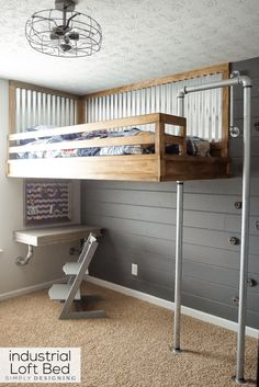 We built the ultimate boys bed! An industrial loft bed with a rock climbing wall and fireman's pole! It is so fun! And you can build one too! Creative Industrial Style Loft Ideas To Accent Your Brick & Steel Home Modern Bunk Beds, Cool Bunk Beds, Kids Bunk Beds, Kids Beds Diy, Lofted Beds, Bunk Bed Ladder, Bunk Bed With Desk, Kura Bed, Industrial Loft Beds