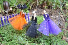 Fairy Garden Halloween Three Little Witches Dresses on a Clothesline Beautifully Packaged and ready for Gift Giving