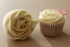 Rose Swirl with Butterflies Cupcakes