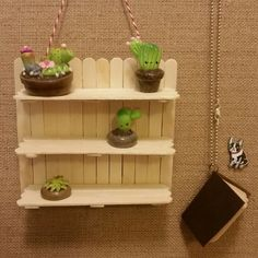 mini plant shelf and our first back to school (angry chicken) Diy Crafts For Home Decor, Diy Crafts Hacks, Diy Arts And Crafts, Creative Crafts, Diy Crafts To Sell, Diy Crafts For Kids, Diy Popsicle Stick Crafts, Popsicle Sticks, Mini Plants
