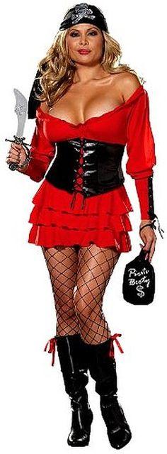 Dreamgirl Women's Pirate Costume, Red/Black, Medium