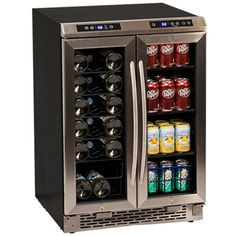 Avanti Wine Cooler + Beverage Center Open the French doors to a world of beverages. The right side of the cooler can accommodate up to 19 bottles of wine and the left side has ample space for your favorite beverages in bottles and cans.   | cheerswineboutique.com