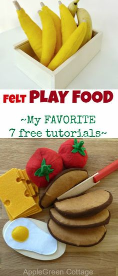 My 7 favorite FREE felt play food TUTORIALS for home-made felt fruit and vegetables. Banana carrots broccoli strawberries pear cheese eggs and more. Preschool Projects, Sewing Projects For Kids, Sewing For Kids, Felt Food Patterns, Felt Fruit, Felt Play Food, Fake Food, Sewing Toys, Felt Diy