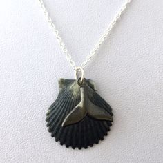 Scallop Seashell Hematite Whale Tail Charm necklace - with silver