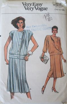 Vogue 9310 Womens 80s Wrap Dress Sewing Pattern with Dropped Waist Bust 36, 38 40. Size 14, 16, 18.
