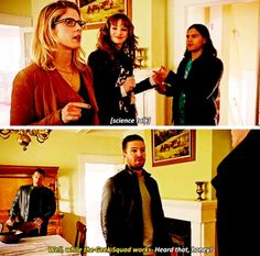 """Well, while the Geek Squad works--"" - Oliver, Felicity, Caitlin, Cisco and Carter #Arrow"