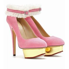 Charlotte Olympia Dolly Platform Pumps with Ruffled Anklets in Pink | Lyst