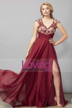 2016 V Neck A Line Prom Dresses With Beads And Ruffles Chiffon