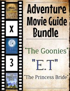Who doesn't love a great adventure movie? Engross your students into these great movies and worksheets. Come get this discounted offer of 3 sets of adventure movie guides (The Goonies, The Princess Bride, E. 22 pages Kids Adventure Movies, Adventure Film, X Movies, Great Movies, College Student Discounts, The Princess Bride, Bridge To Terabithia, Movie Guide, A Bug's Life