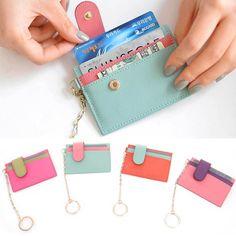 Details about Women Slim Holder Genuine Leather Credit Card Case Business Card Wallet Keychain - Leder - Diy Wallet, Wallet Keychain, Leather Keychain, Leather Wallet, Leather Card Case, Small Wallet, Crea Cuir, Credit Card Wallet, Credit Cards