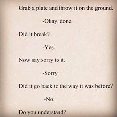 Grab a plate & throw it. Did it break? Now say sorry! Did it fix itself? Do U understand now? Picture quote.