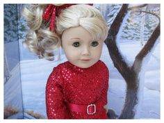 American Girl Doll 18 Inch Christmas Set, 2015, Red Doll Clothes by BonJeanCreations on Etsy