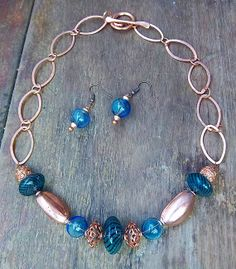 Coppery Blues Blown Glass Necklace & Earrings Set  by infoerica, $24.00