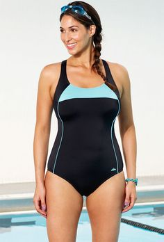 195ea81654 Chlorine Resistant Lycra Xtra Life Mint Border X-Back One Piece Swimsuit