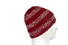 Warm Winter Beanie Hat Crimson Red & White  by lousknittingroom