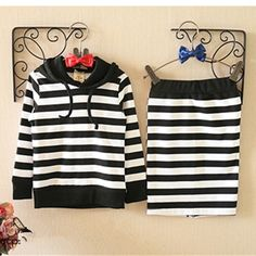 kids girls striped clothing suit long sleeve hood shirt with pencil skirt kids clothing sets fashion kids garment retail