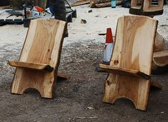 "The World's Oldest, Simplest Chair Design? - the ""viking chair"" done here in slabs of trees"