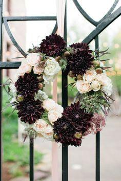 Chocolate Dahlias Roses Wedding Wreath