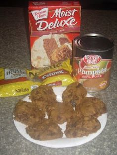 Pumpkin Chocolate Chip Cookies...SO EASY. THREE ingredients...canned pumpkin, chocolate chips (optional), and 1 spice cake mix. To make these cookies just mix the dry cake mix together with the canned pumpkin (1/2 of a large can of pumpkin), throw in the chocolate chips, put spoonfuls of the dough on a cookie sheet, bake at 350 for 10-12 minutes (or until cake-like texture) and enjoy!