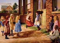 There might be enough time to finish one last skipping game 'Just Before the Bell' rings.  There is nothing like good old-fashioned wholesome fun!  Jim Daly captures the essence of classic fun amongst young ladies in this 1000 piece jigsaw puzzle by Cobble Hill Puzzles. Search: Jim Daly